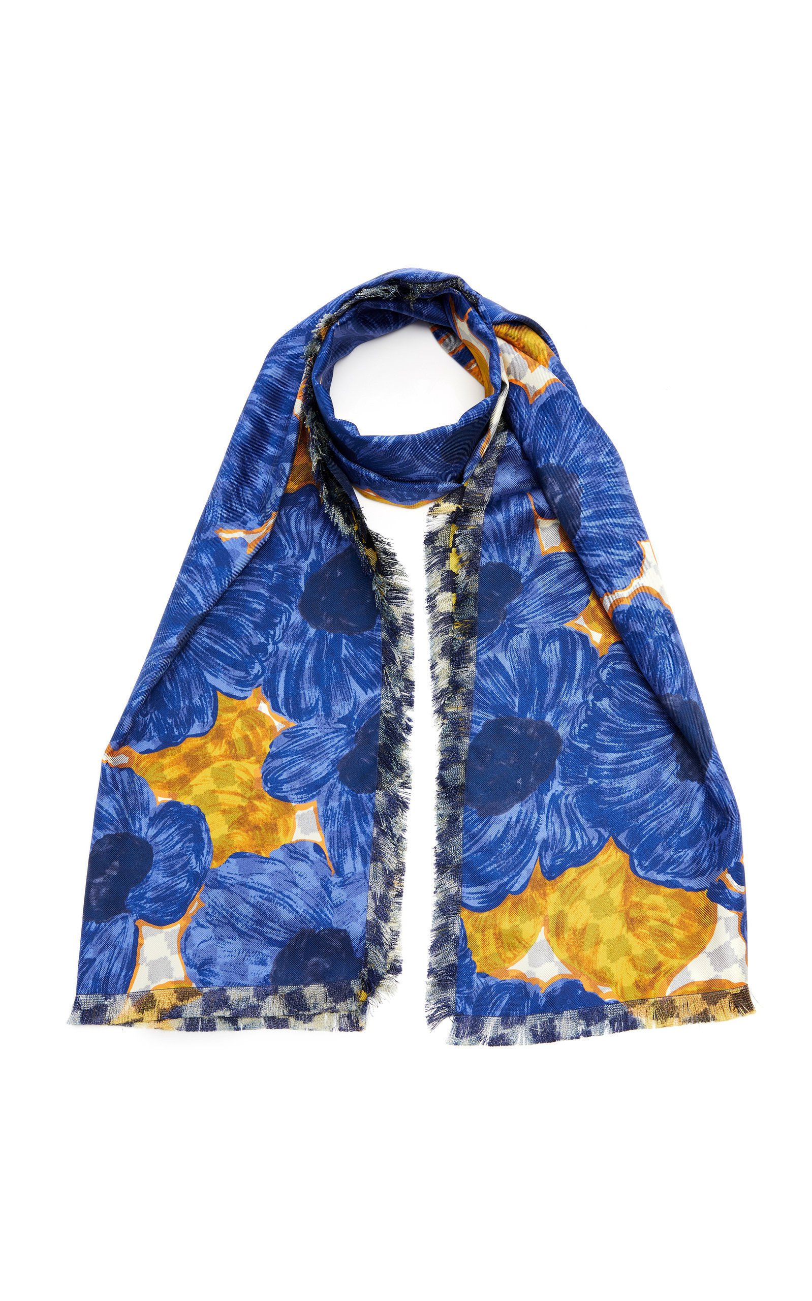 Etro Checkered Floral Silk Scarf