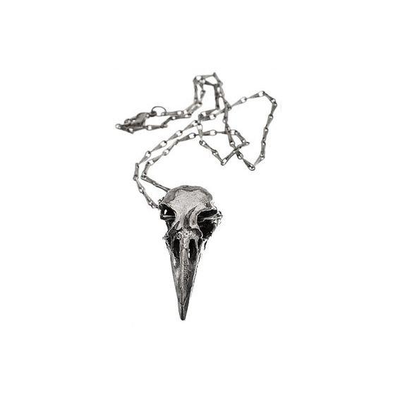 Crow Skull Silver Necklace