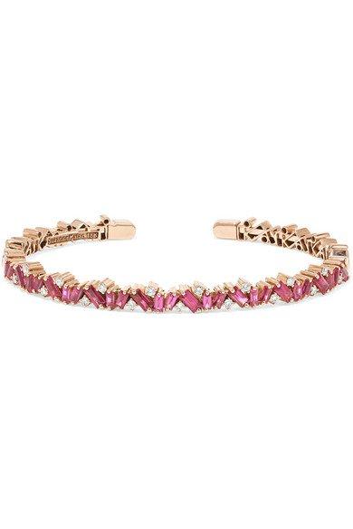 Suzanne Kalan | 18-karat rose gold, ruby and diamond cuff | NET-A-PORTER.COM