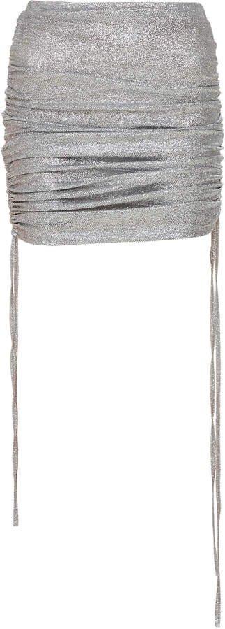 Mach & Mach Silver Sparkling Draped Skirt