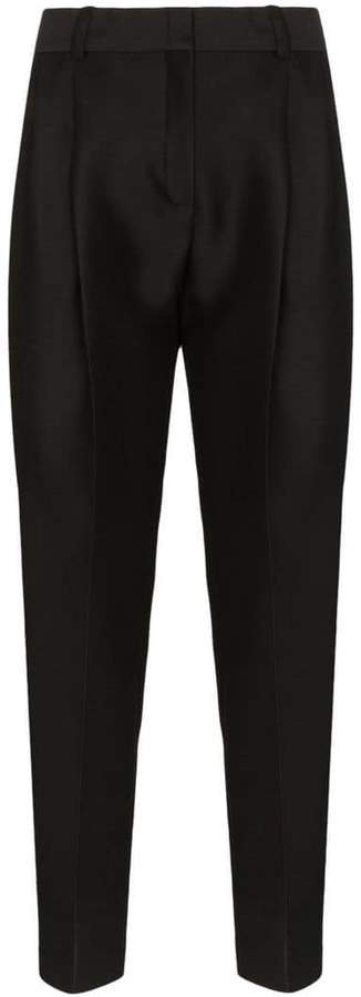 high-waisted wool-silk tapered trousers