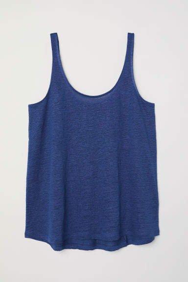 Linen Jersey Tank Top - Blue