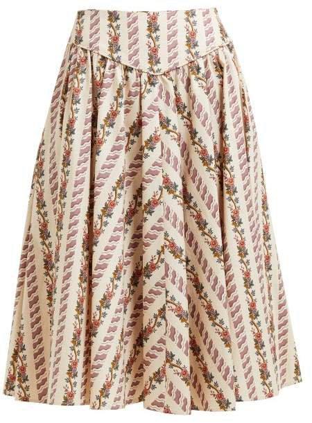 Floral Print Cotton Skirt - Womens - Cream Multi