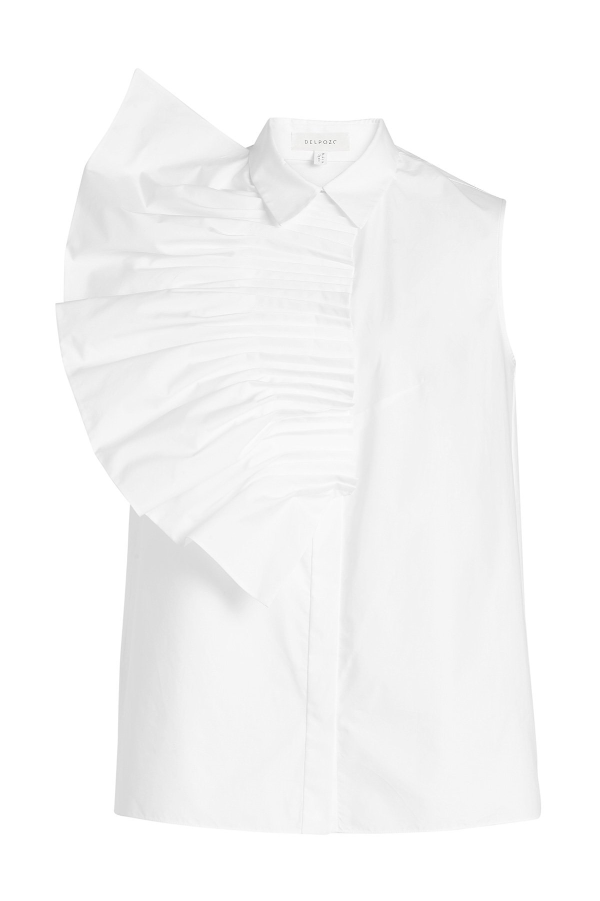 Pin Tuck Fan Sleveless Cotton Shirt Gr. FR 38