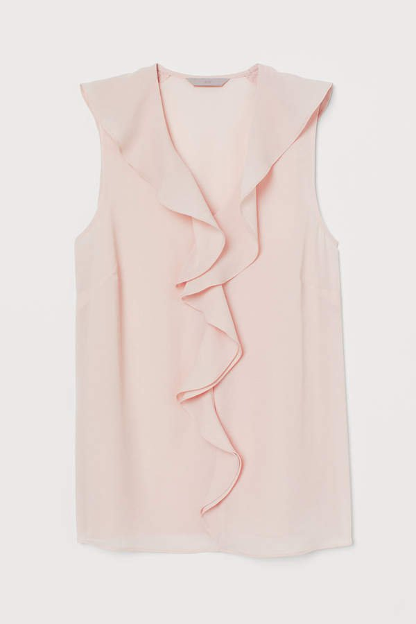 Sleeveless Flounced Blouse - Pink