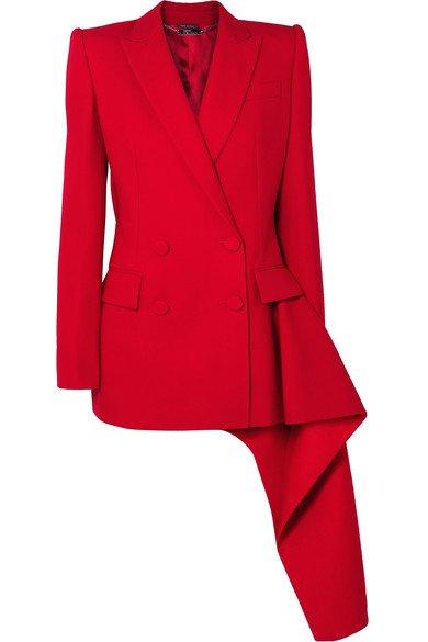 Alexander McQueen | Asymmetric double-breasted wool-blend blazer | NET-A-PORTER.COM