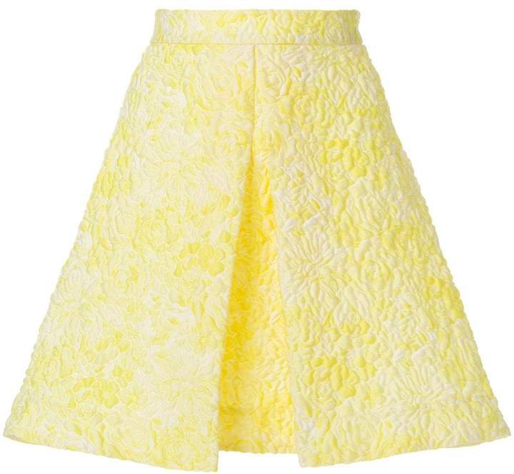 quilted embroidery A-line skirt