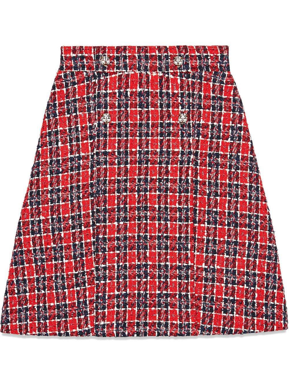 Gucci Tweed Check A-line Skirt | Farfetch.com