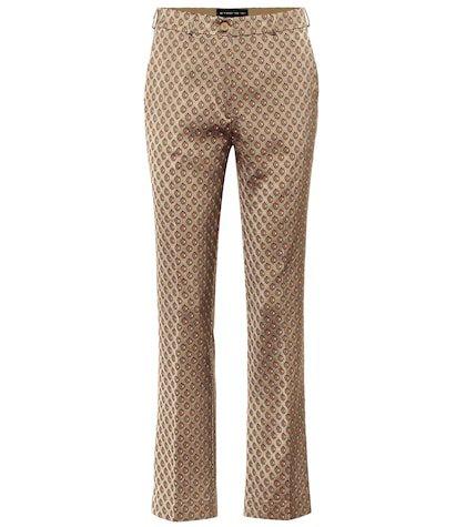 Mid-rise straight jacquard pants