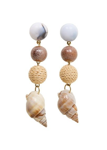 Violeta BY MANGO  Shell pendant earrings