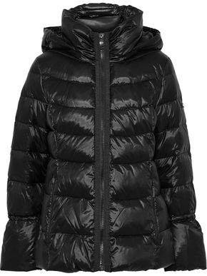Quilted Coated-shell Down Hooded Coat