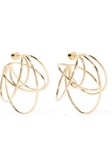 Jennifer Fisher | Haywire gold-plated hoop earrings | NET-A-PORTER.COM