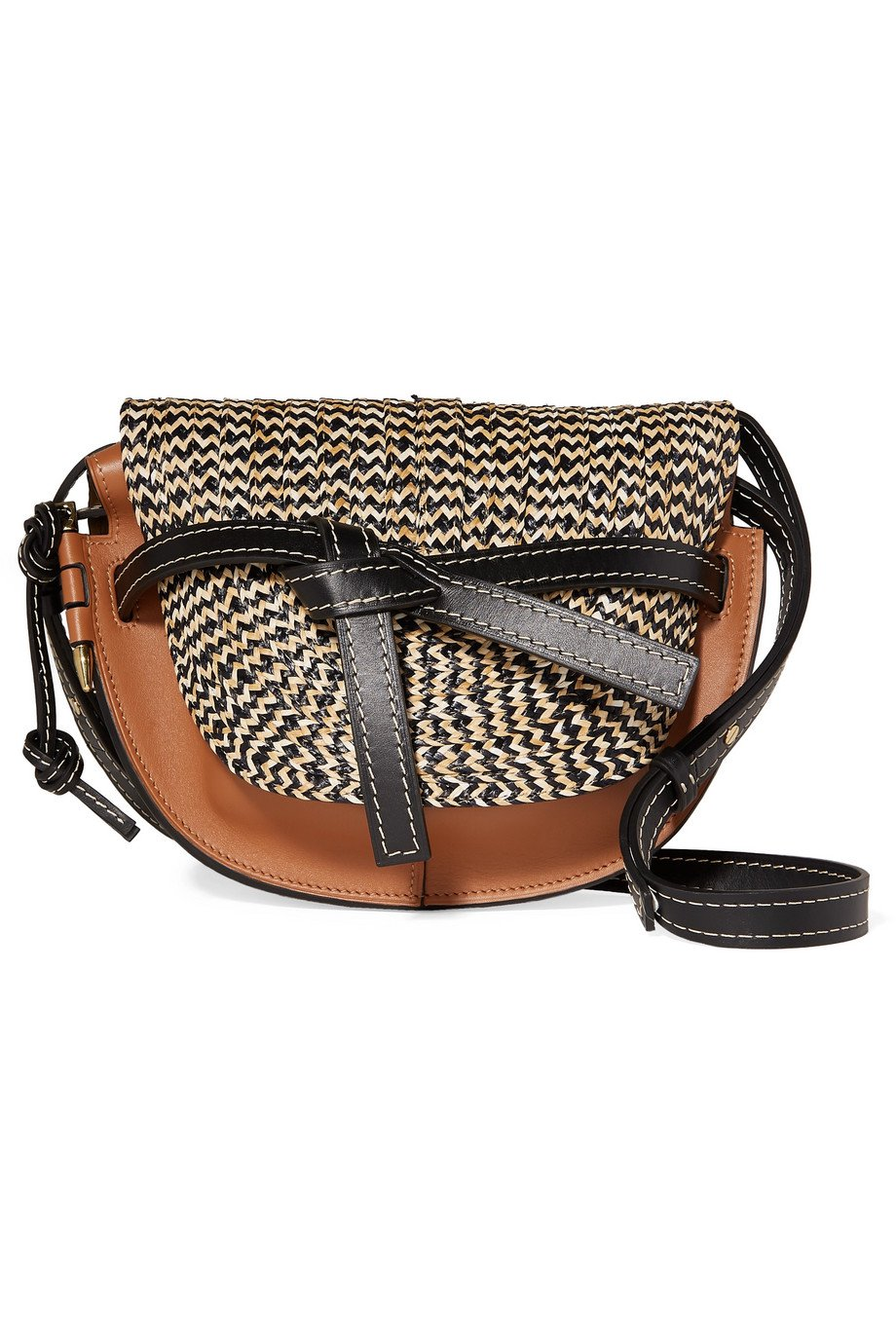 Loewe | Gate small woven raffia and leather shoulder bag | NET-A-PORTER.COM
