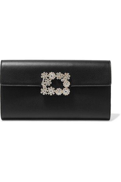 Roger Vivier   Flower crystal-embellished leather clutch   NET-A-PORTER.COM