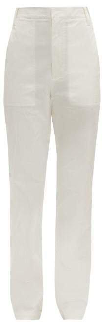 Sebastian High Rise Cotton Blend Twill Trousers - Womens - White