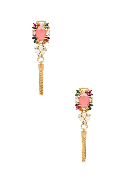 Crystal Cluster With Tassel Earrings