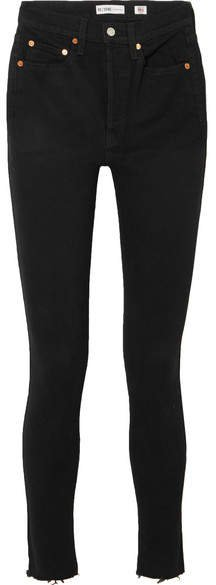 High Rise Ankle Crop Skinny Jeans - Black