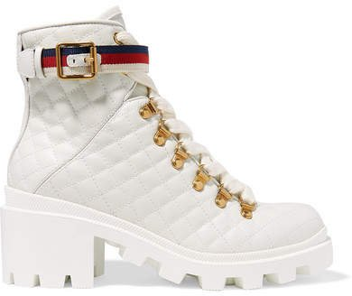Trip Grosgrain-trimmed Quilted Leather Ankle Boots - White