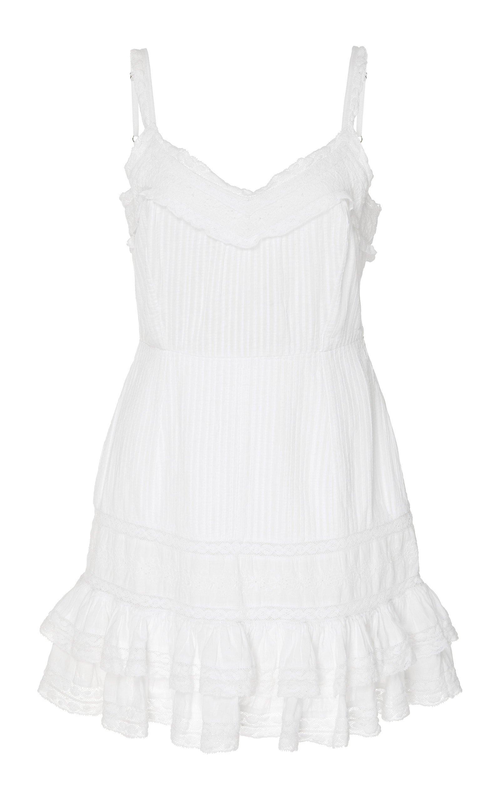 LoveShackFancy Tallulah Ruffled Lace-Trimmed Cotton Mini Dress Size: