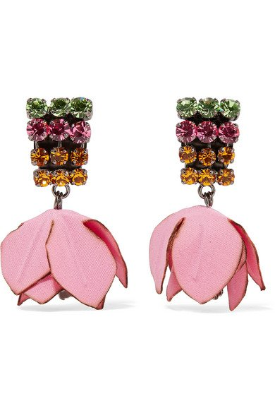 Marni | Gunmetal-tone, cotton and crystal clip earrings | NET-A-PORTER.COM