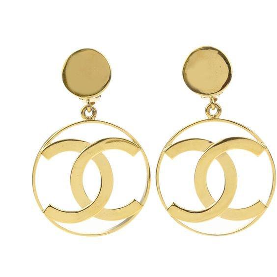 Chanel Vintage Gold Large CC Hoop Dangle Earrings