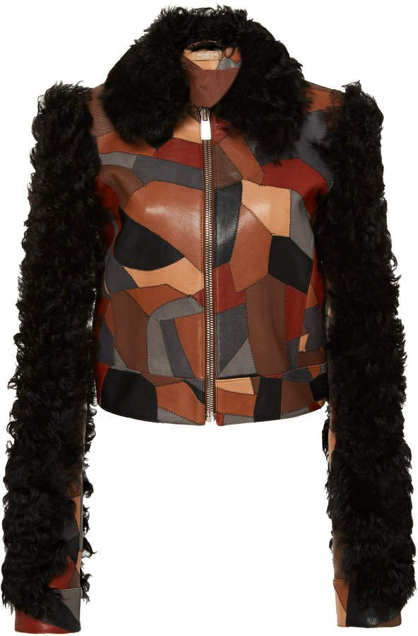 Printed Collared Leather-Shearling Jacket