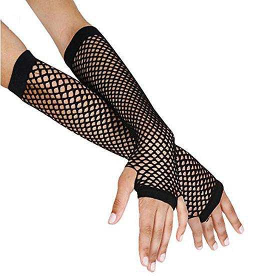 Black Fingerless Fishnet Gloves