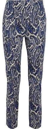 Printed Stretch-cotton Twill Slim-leg Pants