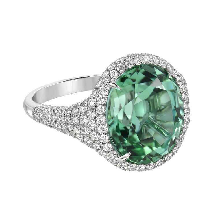 Magnificent 10.40 Carat Mint Green Tourmaline Diamond Platinum Ring For Sale at 1stdibs