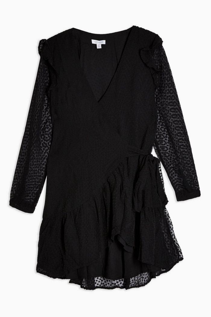 Plain Black Dobby Ruffle Mini Dress | Topshop