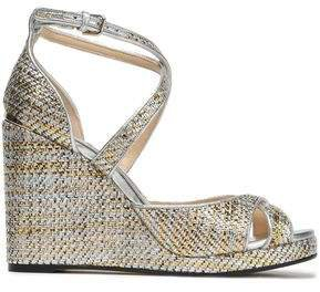 Metallic Woven Wedge Sandals