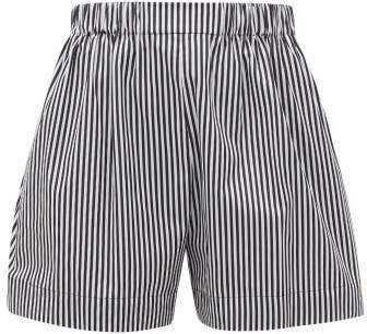 Logo Embroidered Striped Cotton Poplin Shorts - Womens - Black White