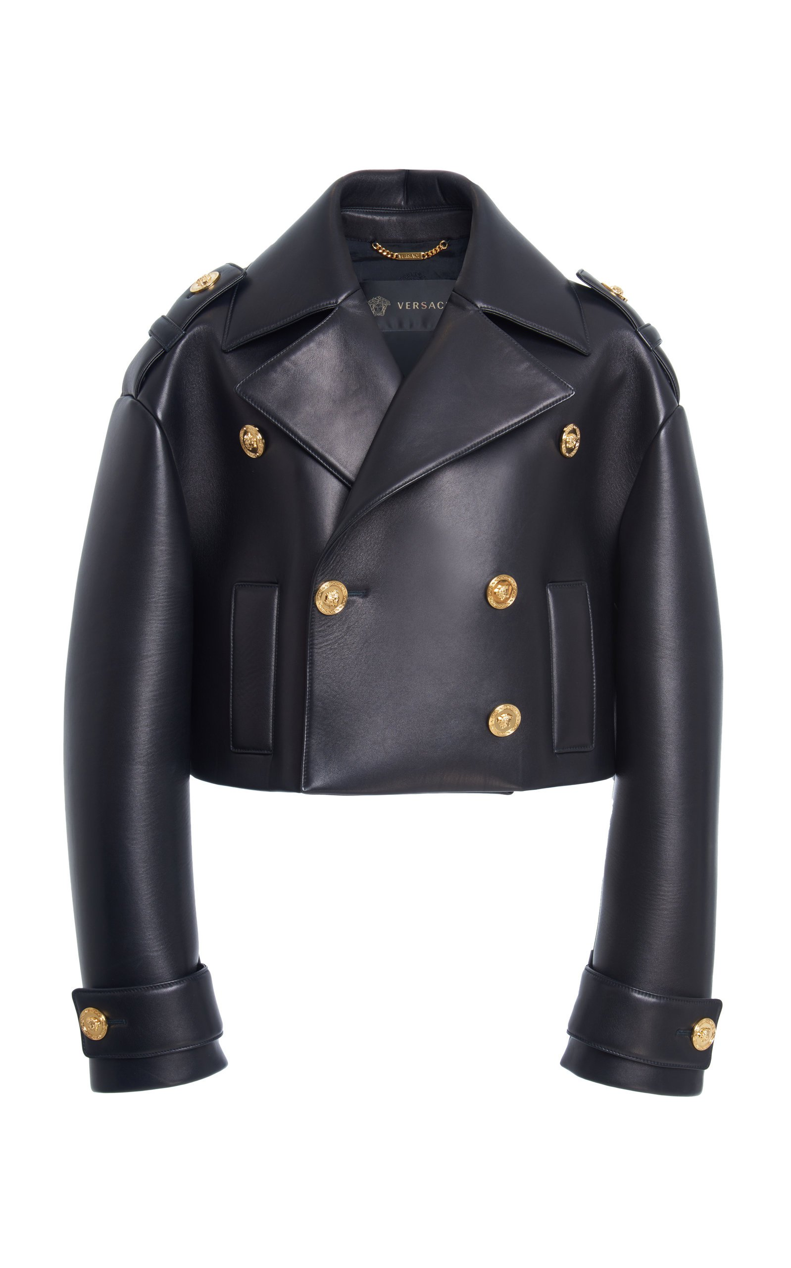 Double Breasted Leather Jacket by Versace | Moda Operandi