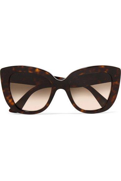 Gucci | Havana cat-eye tortoiseshell acetate sunglasses | NET-A-PORTER.COM