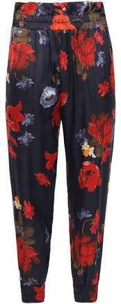 Floral-print Satin Tapered Pants