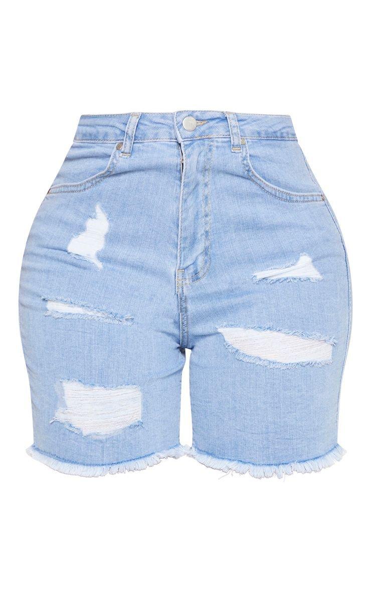 Shape Light Wash High Waist Longline Distressed Denim Shorts | PrettyLittleThing