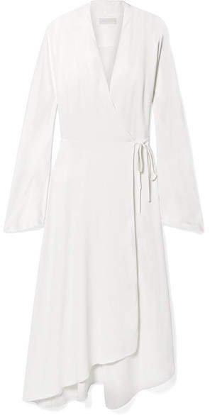 The Rose Asymmetric Satin Midi Wrap Dress - Ivory