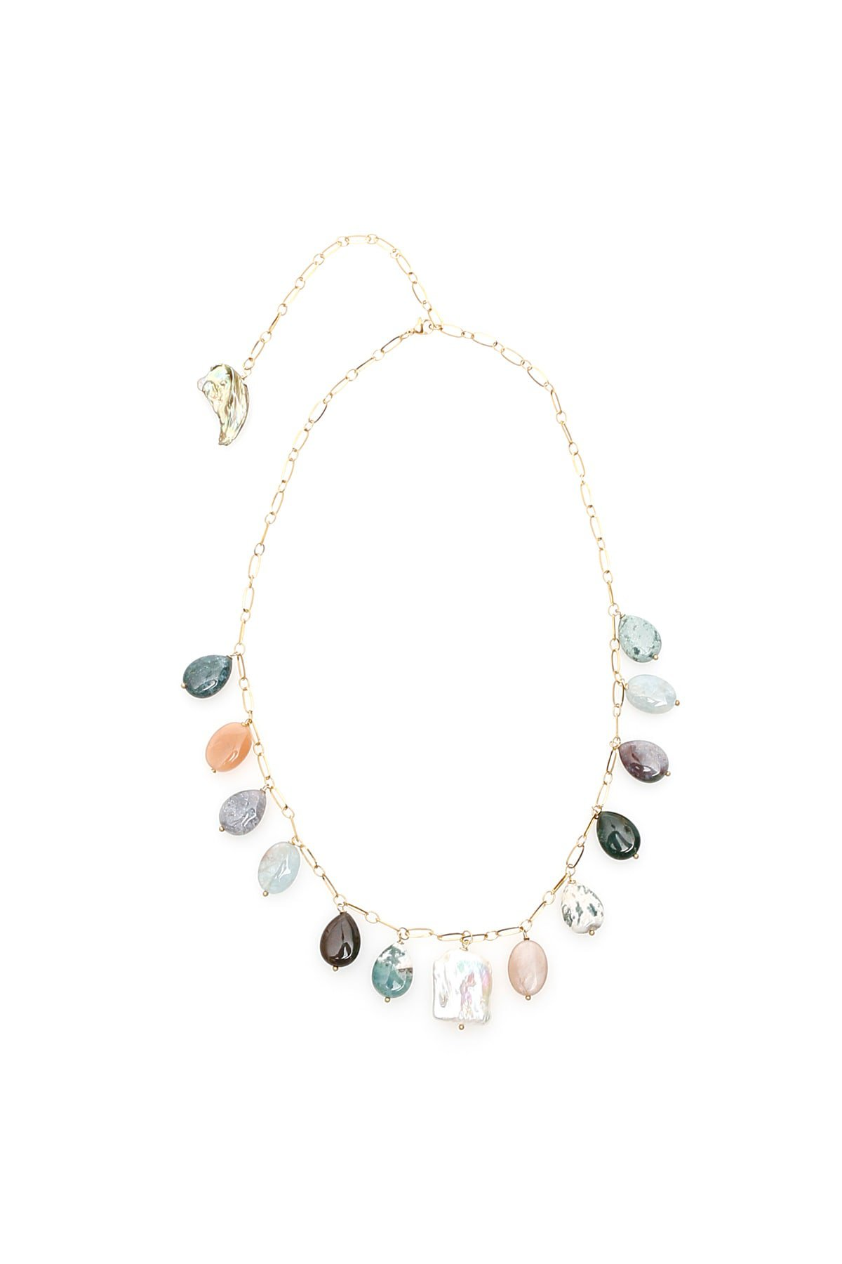 Timeless Pearly Agate And Pearl Necklace