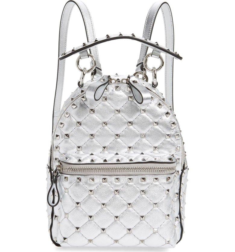 VALENTINO GARAVANI Mini Rockstud Metallic Leather Backpack   Nordstrom