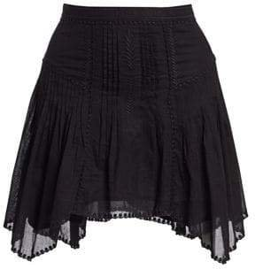 Women's Akala Embroidered A-Line Handkerchief Skirt - Black - Size 42 (10)