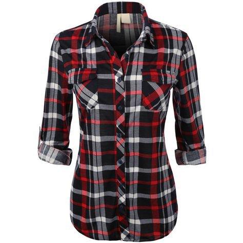 Black/White/Red Plaid Flannel Shirt