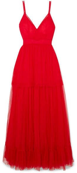 STAUD - Mandy Tulle Maxi Dress - Red