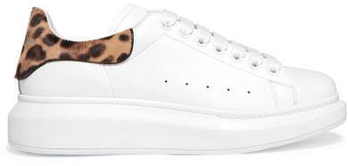 Calf Hair-trimmed Leather Exaggerated-sole Sneakers - White