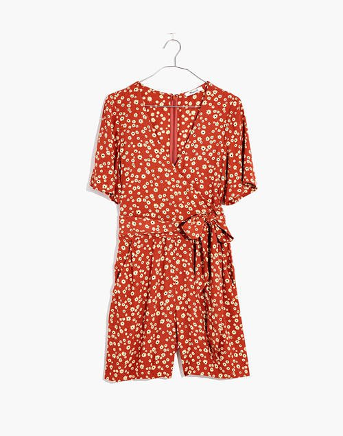 Wrap-Front Romper in Pindot