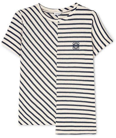Asymmetric Embroidered Striped Cotton-jersey T-shirt - Navy