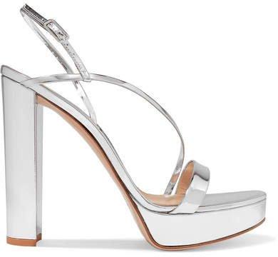 100 Mirrored-leather Platform Sandals - Silver