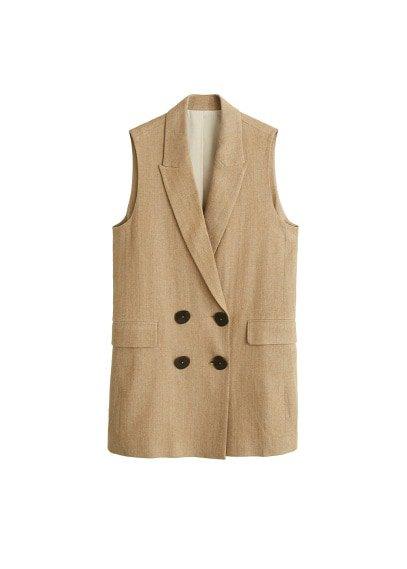MANGO Linen-blend pocket vest