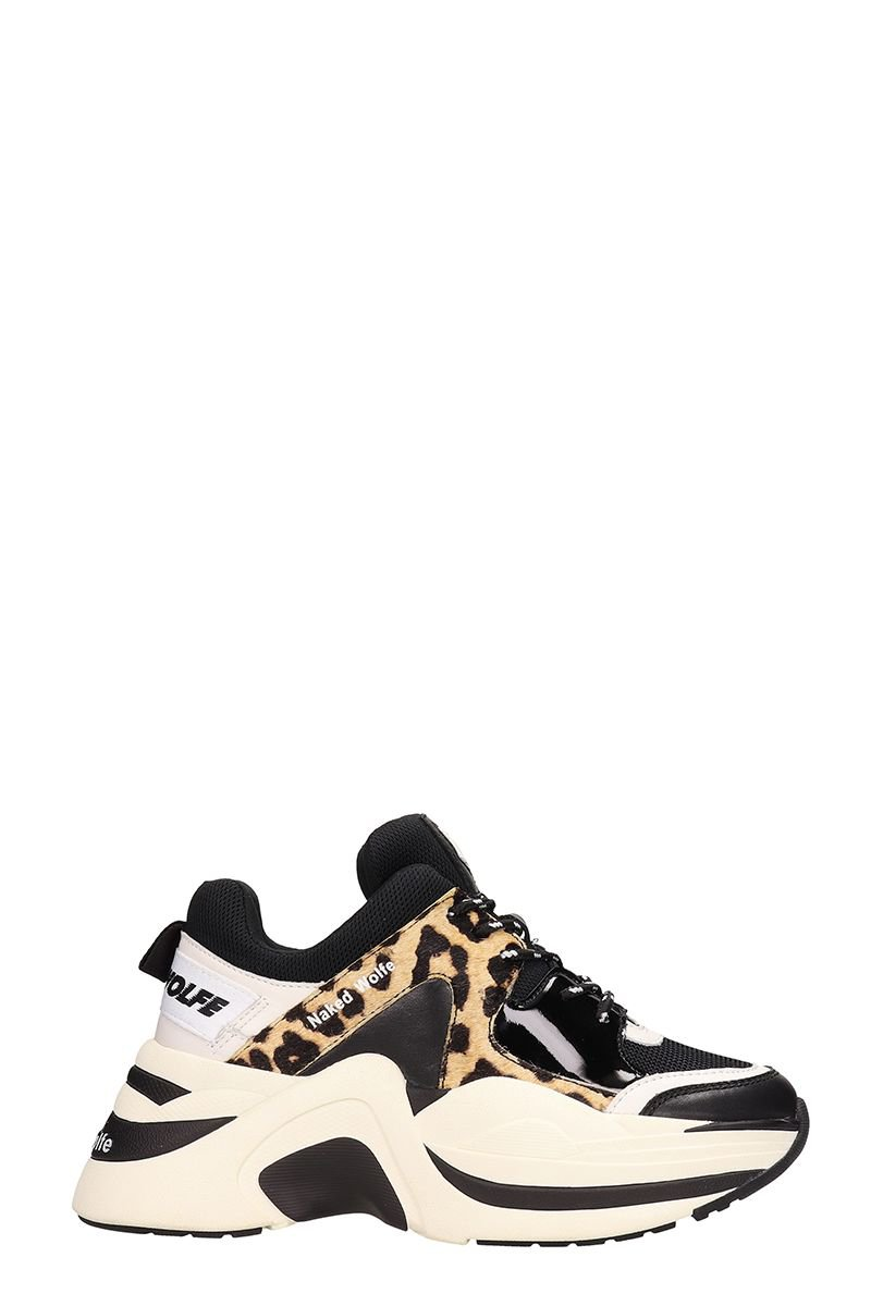 Naked Wolfe Track Sneakers Black Leather And Technical Fabric