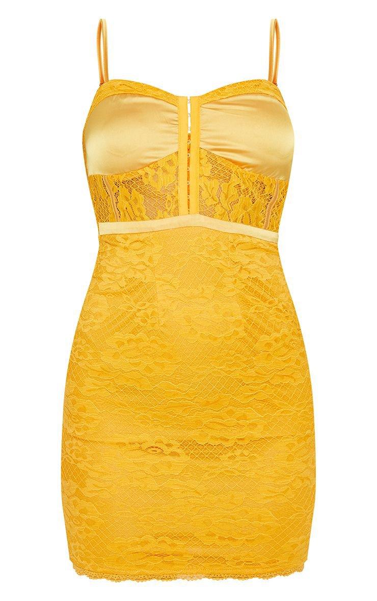 Yellow Lace Corset Bodycon Dress | Dresses | PrettyLittleThing USA