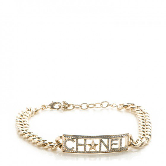 CHANEL Crystal Chain Link Choker Necklace Gold